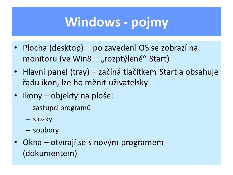 """Windows - pojmy Plocha (desktop) – po zavedení OS se zobrazí na monitoru (ve Win8 – """"rozptýlené"""" Start) Hlavní panel (tray) – začíná tlačítkem Start a"""