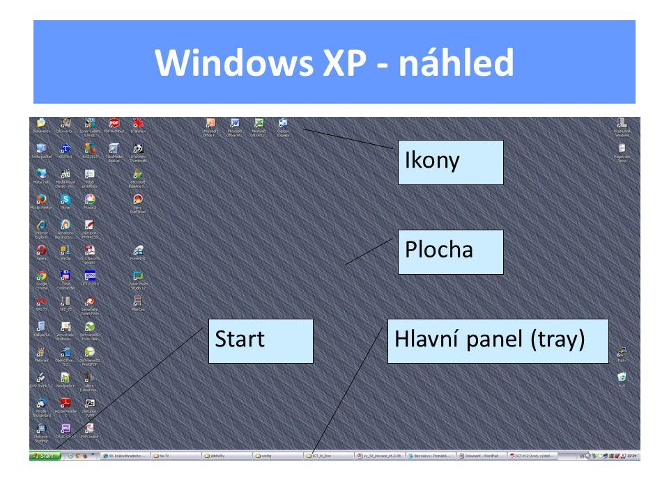 Windows XP - náhled Plocha Ikony Hlavní panel (tray)Start