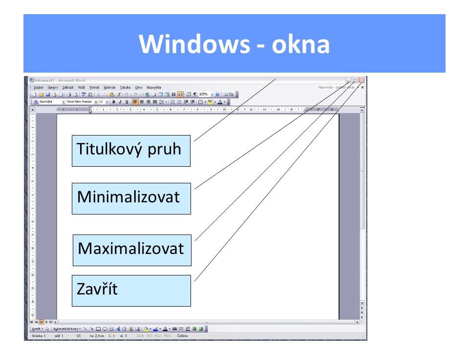 Windows - okna Titulkový pruh Minimalizovat Maximalizovat Zavřít