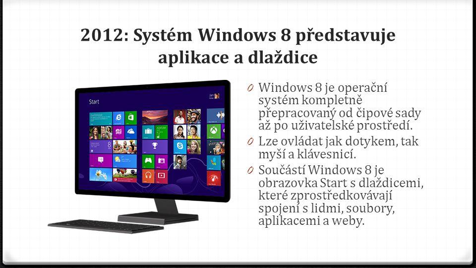 2012: Systém Windows 8 představuje aplikace a dlaždice 0 Windows 8 je operační systém kompletně přepracovaný od čipové sady až po uživatelské prostřed