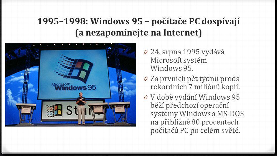 1995–1998: Windows 95 – počítače PC dospívají (a nezapomínejte na Internet) 0 24. srpna 1995 vydává Microsoft systém Windows 95. 0 Za prvních pět týdn
