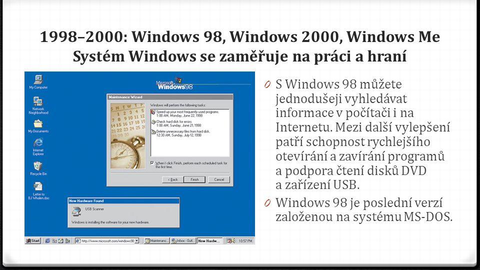 1998–2000: Windows 98, Windows 2000, Windows Me Systém Windows se zaměřuje na práci a hraní 0 S Windows 98 můžete jednodušeji vyhledávat informace v p