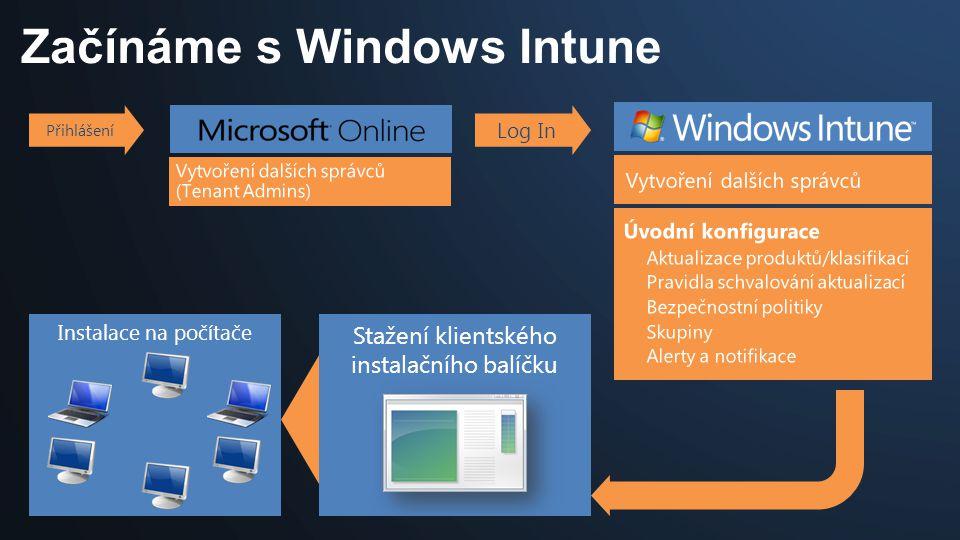 Začínáme s Windows Intune Instalace na počítače Přihlášení Log In Stažení klientského instalačního balíčku
