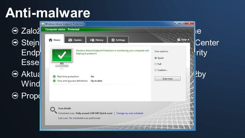 Založeno na Microsoft Malware Protection Engine Stejná technologie použitá i v Microsoft System Center Endpoint Protection (Forefront) a Microsoft Security Essentials Aktualizace virové databáze prostřednictvím služby Windows Update Propojení s Windows Firewall Anti-malware