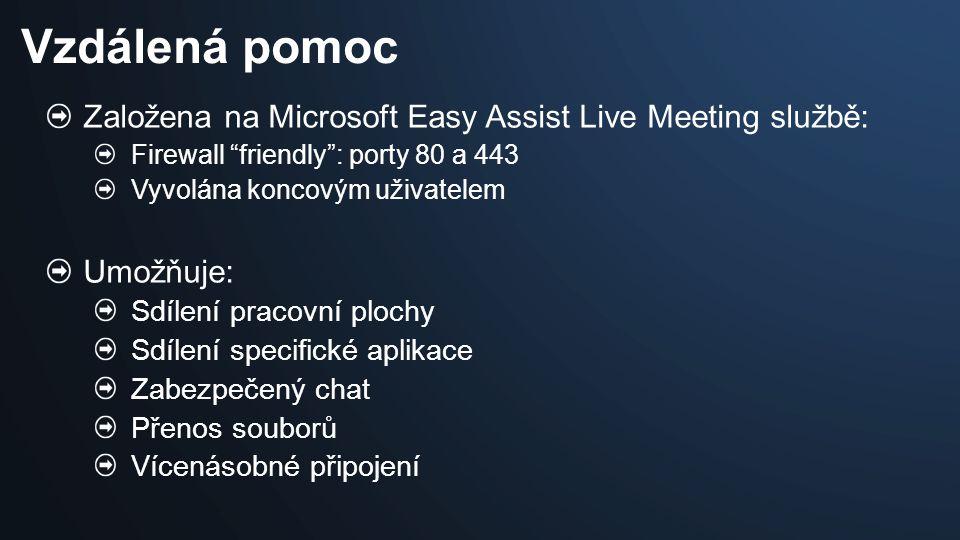 "Založena na Microsoft Easy Assist Live Meeting službě: Firewall ""friendly"": porty 80 a 443 Vyvolána koncovým uživatelem Umožňuje: Sdílení pracovní plo"