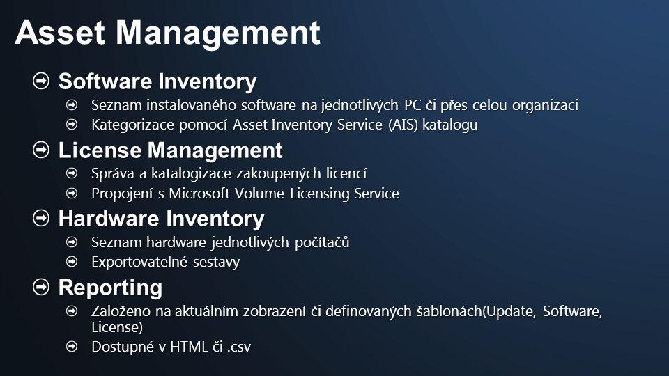 Software Inventory Seznam instalovaného software na jednotlivých PC či přes celou organizaci Kategorizace pomocí Asset Inventory Service (AIS) katalog