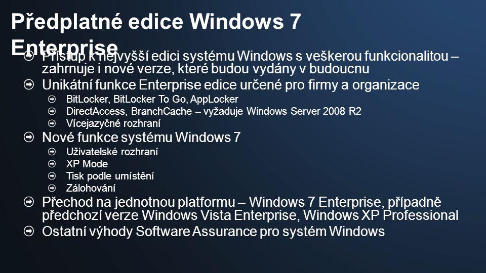 Přístup k nejvyšší edici systému Windows s veškerou funkcionalitou – zahrnuje i nové verze, které budou vydány v budoucnu Unikátní funkce Enterprise e