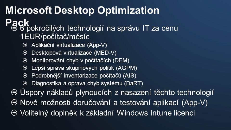 6 pokročilých technologií na správu IT za cenu 1EUR/počítač/měsíc Aplikační virtualizace (App-V) Desktopová virtualizace (MED-V) Monitorování chyb v počítačích (DEM) Lepší správa skupinových politik (AGPM) Podrobnější inventarizace počítačů (AIS) Diagnostika a oprava chyb systému (DaRT) Úspory nákladů plynoucích z nasazení těchto technologií Nové možnosti doručování a testování aplikací (App-V) Volitelný doplněk k základní Windows Intune licenci Microsoft Desktop Optimization Pack