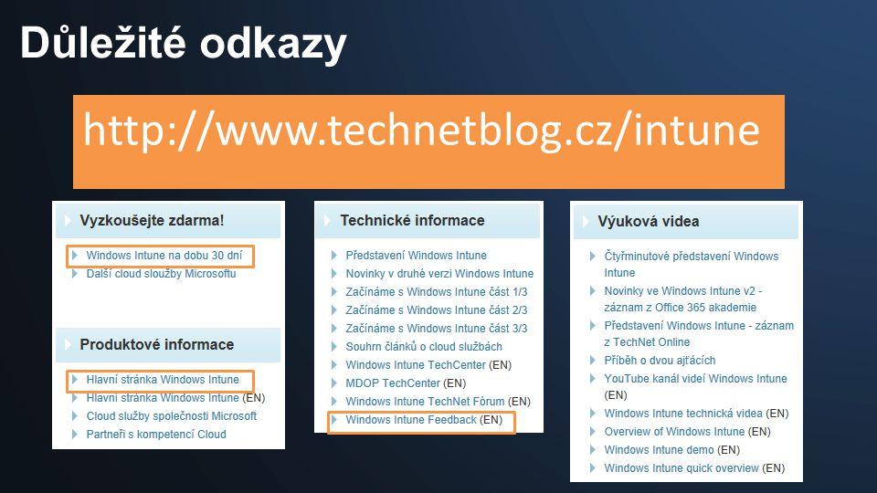 Důležité odkazy http://www.technetblog.cz/intune