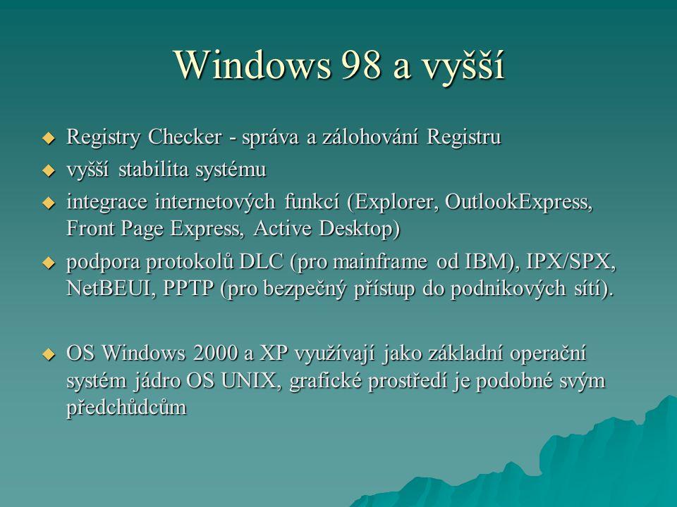 Windows 98 a vyšší  Registry Checker - správa a zálohování Registru  vyšší stabilita systému  integrace internetových funkcí (Explorer, OutlookExpr