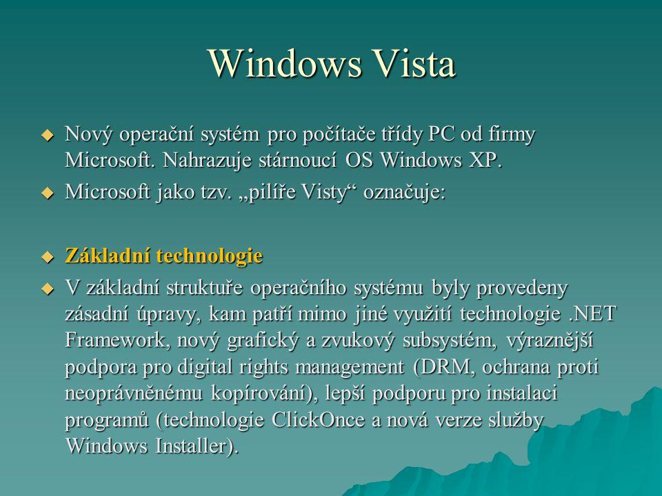 """Windows Vista  Nový operační systém pro počítače třídy PC od firmy Microsoft. Nahrazuje stárnoucí OS Windows XP.  Microsoft jako tzv. """"pilíře Visty"""""""
