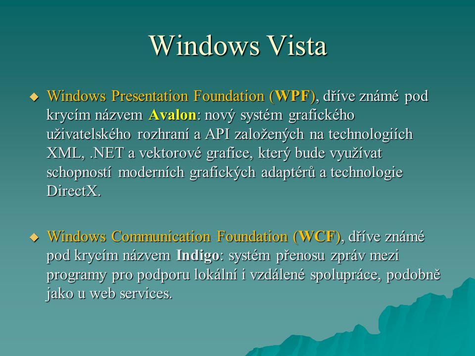 Windows Vista  Windows Presentation Foundation (WPF), dříve známé pod krycím názvem Avalon: nový systém grafického uživatelského rozhraní a API založ