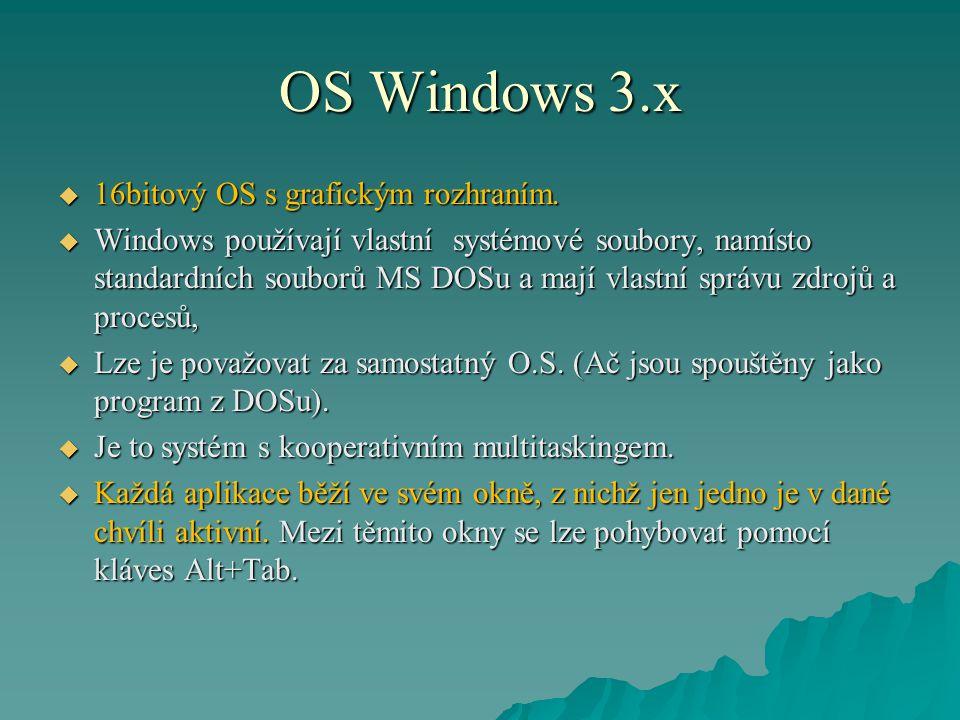 OS Windows 3.x  16bitový OS s grafickým rozhraním.  Windows používají vlastní systémové soubory, namísto standardních souborů MS DOSu a mají vlastní