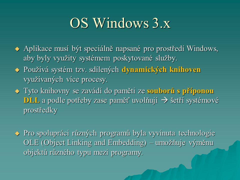 OS Windows 3.x  Aplikace musí být speciálně napsané pro prostředí Windows, aby byly využity systémem poskytované služby.  Používá systém tzv. sdílen