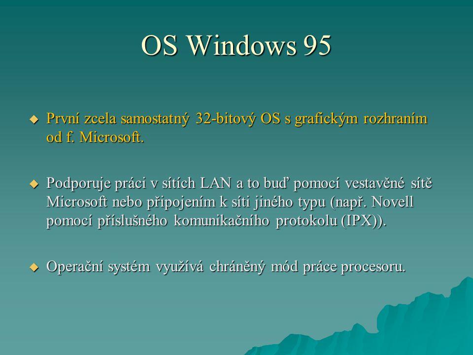 OS Windows 95  První zcela samostatný 32-bitový OS s grafickým rozhraním od f. Microsoft.  Podporuje práci v sítích LAN a to buď pomocí vestavěné sí