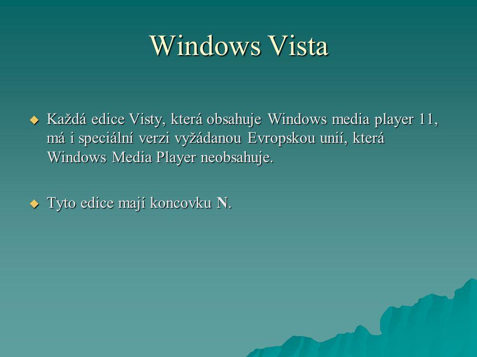 Windows Vista  Každá edice Visty, která obsahuje Windows media player 11, má i speciální verzi vyžádanou Evropskou unií, která Windows Media Player neobsahuje.