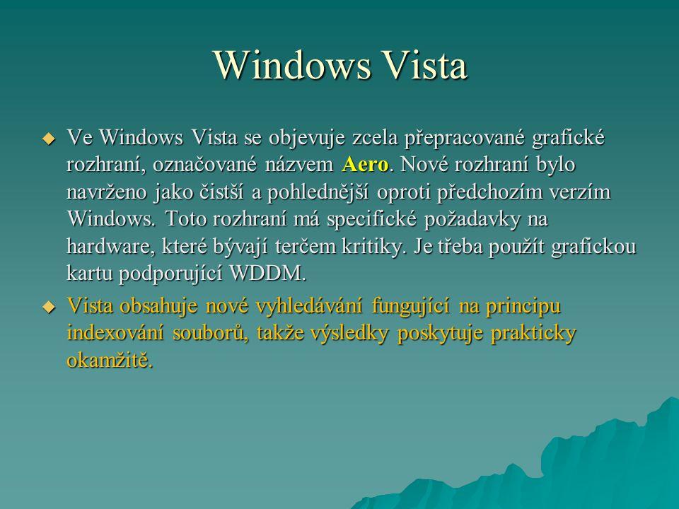 Windows Vista  Ve Windows Vista se objevuje zcela přepracované grafické rozhraní, označované názvem Aero.