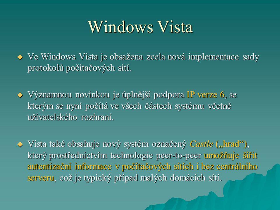 Windows Vista  Ve Windows Vista je obsažena zcela nová implementace sady protokolů počítačových sítí.