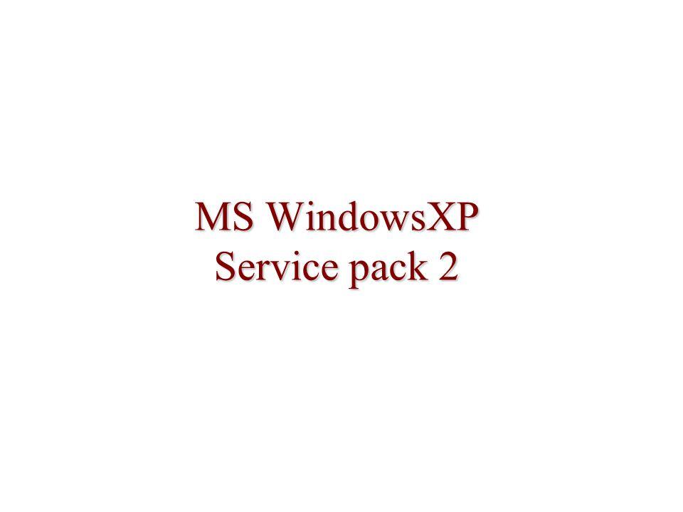 Zamezení distribuce SP2 Jen po omezenou dobu, pak nebude mít efekt Neochrání proti distribuci pomocí SUS, SMS a CD Nezabrání Windows Update nebo Automatické aktualizace NoXPSP2Update.adm ke stažení na webu MS Doba vyprší 14.5.2005 (za 240 dnů (8 měsíců) od 16.