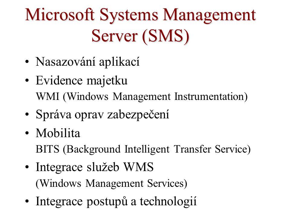 Microsoft Systems Management Server (SMS) Nasazování aplikací Evidence majetku WMI (Windows Management Instrumentation) Správa oprav zabezpečení Mobil