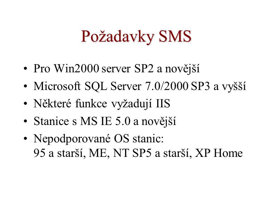 Požadavky SMS Pro Win2000 server SP2 a novější Microsoft SQL Server 7.0/2000 SP3 a vyšší Některé funkce vyžadují IIS Stanice s MS IE 5.0 a novější Nep