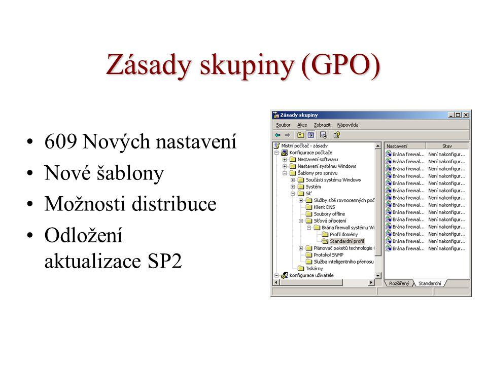 Zásady skupiny (GPO) 609 Nových nastavení Nové šablony Možnosti distribuce Odložení aktualizace SP2