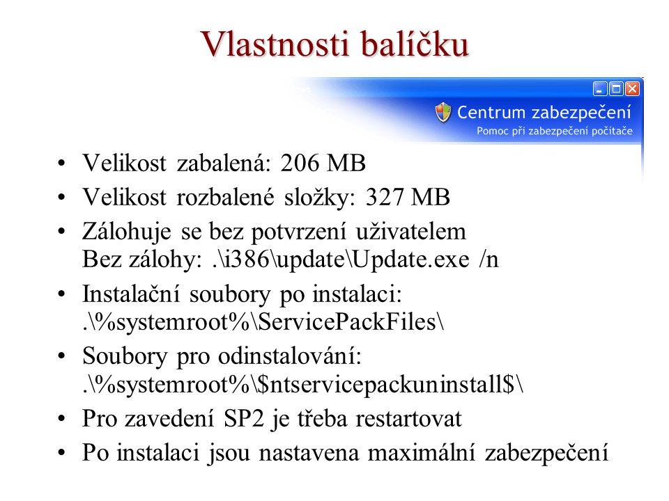 Vlastnosti balíčku Velikost zabalená: 206 MB Velikost rozbalené složky: 327 MB Zálohuje se bez potvrzení uživatelem Bez zálohy:.\i386\update\Update.ex