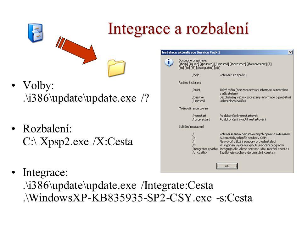 Integrace a rozbalení Volby:.\i386\update\update.exe /? Rozbalení: C:\ Xpsp2.exe /X:Cesta Integrace:.\i386\update\update.exe /Integrate:Cesta.\Windows
