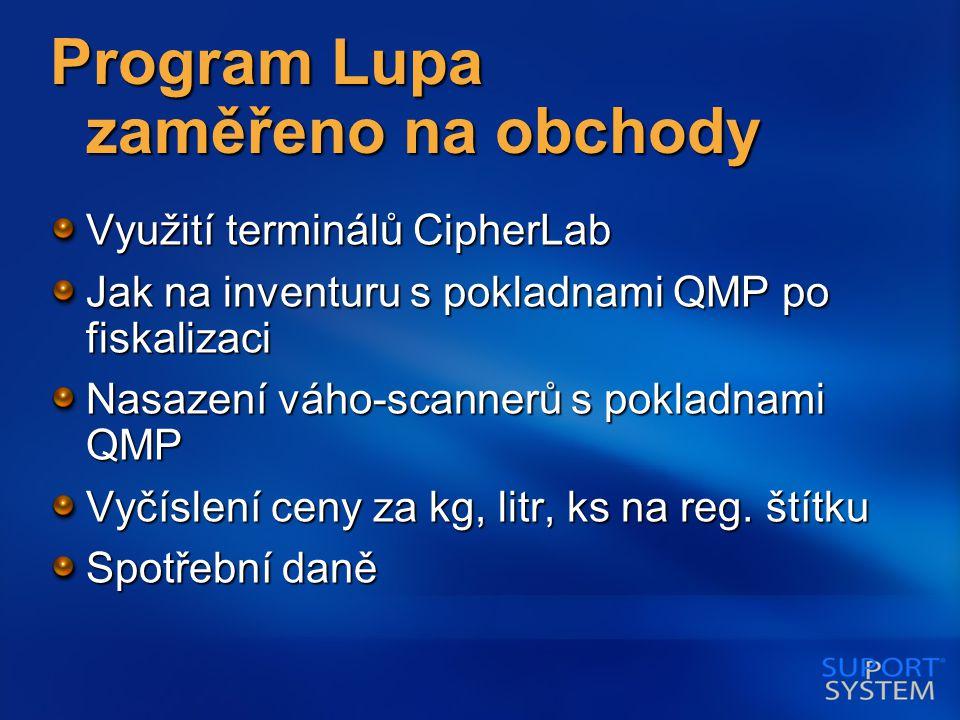 Program Lupa zaměřeno na obchody Využití terminálů CipherLab Jak na inventuru s pokladnami QMP po fiskalizaci Nasazení váho-scannerů s pokladnami QMP Vyčíslení ceny za kg, litr, ks na reg.