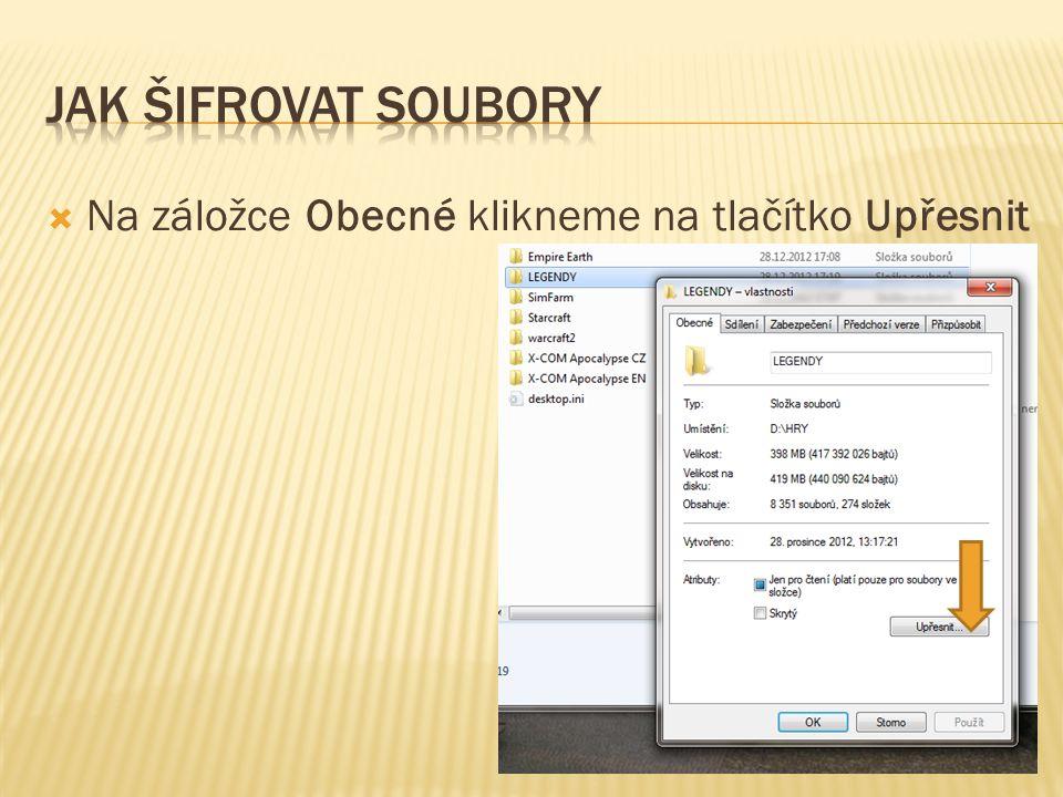  V dalším okně zaškrtneme políčko Šifrovat obsah a zabezpečit tak data a pak klikneme na tlačítko OK