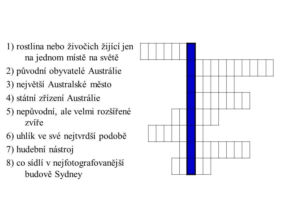 1) rostlina nebo živočich žijící jen na jednom místě na světě 2) původní obyvatelé Austrálie 3) největší Australské město 4) státní zřízení Austrálie