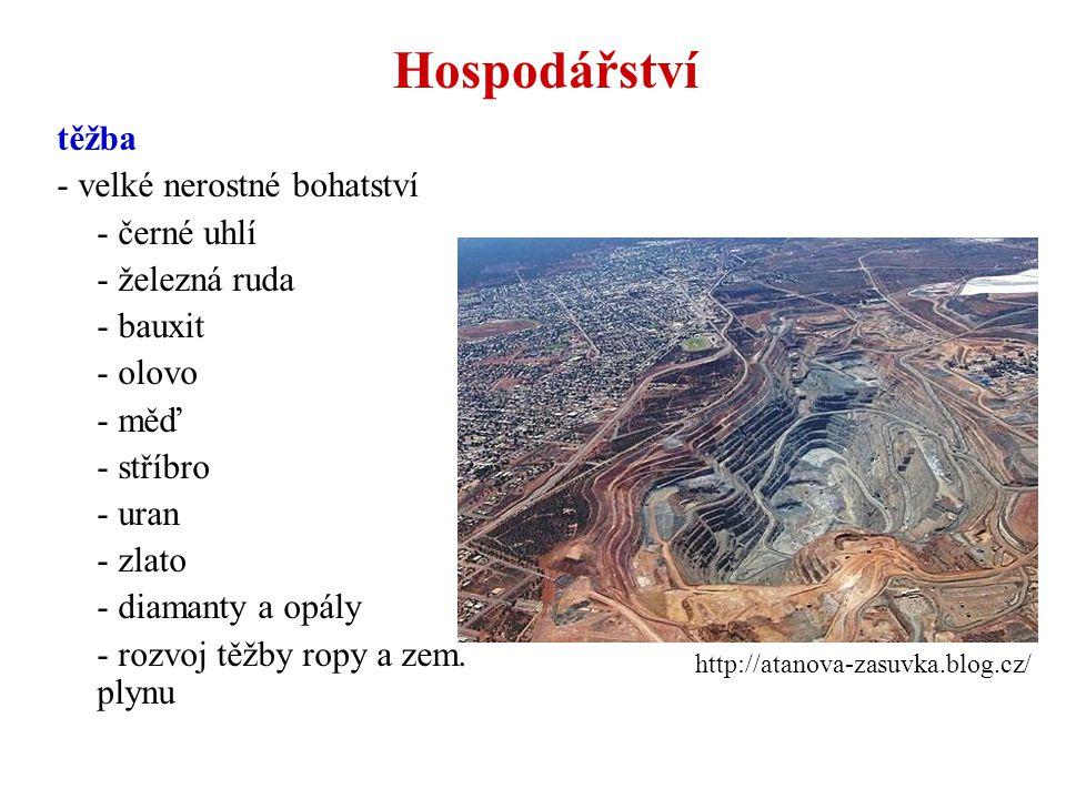 těžba - velké nerostné bohatství - černé uhlí - železná ruda - bauxit - olovo - měď - stříbro - uran - zlato - diamanty a opály - rozvoj těžby ropy a