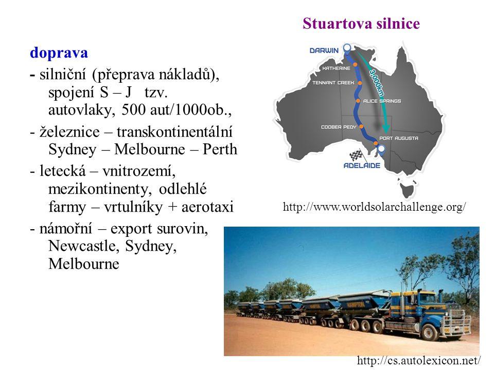 doprava - silniční (přeprava nákladů), spojení S – J tzv. autovlaky, 500 aut/1000ob., - železnice – transkontinentální Sydney – Melbourne – Perth - le