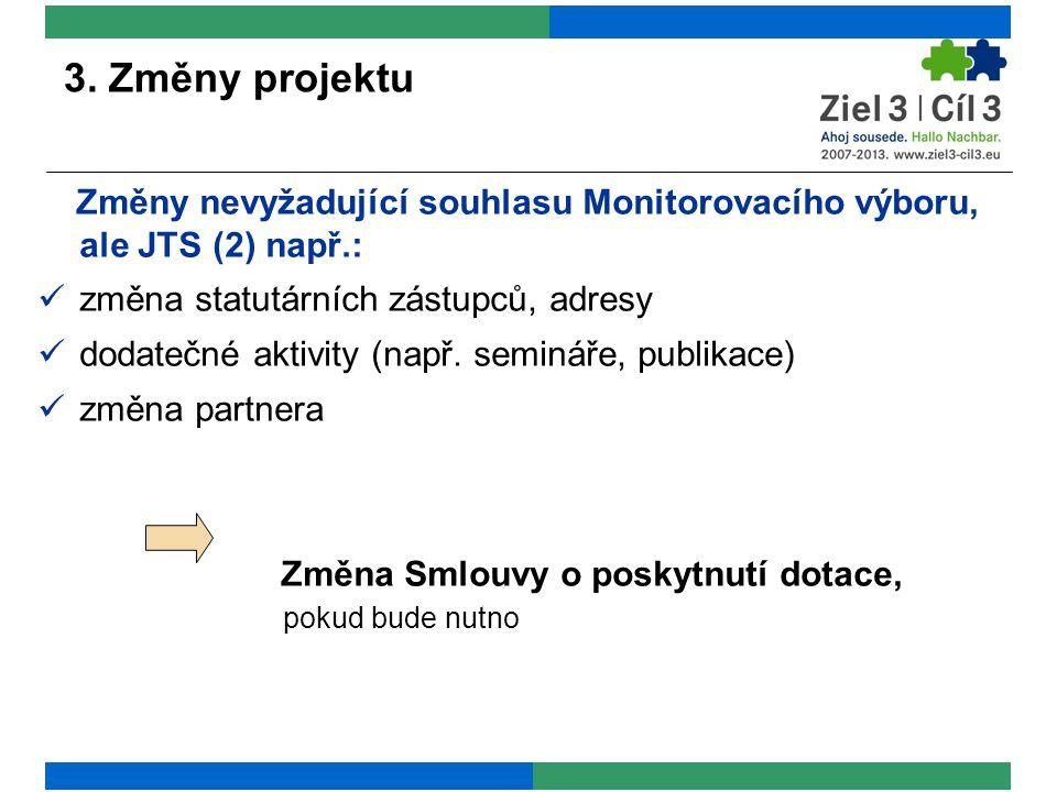 3. Změny projektu Změny nevyžadující souhlasu Monitorovacího výboru, ale JTS (2) např.: změna statutárních zástupců, adresy dodatečné aktivity (např.