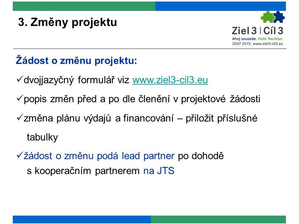 3. Změny projektu Žádost o změnu projektu: dvojjazyčný formulář viz www.ziel3-cil3.euwww.ziel3-cil3.eu popis změn před a po dle členění v projektové ž