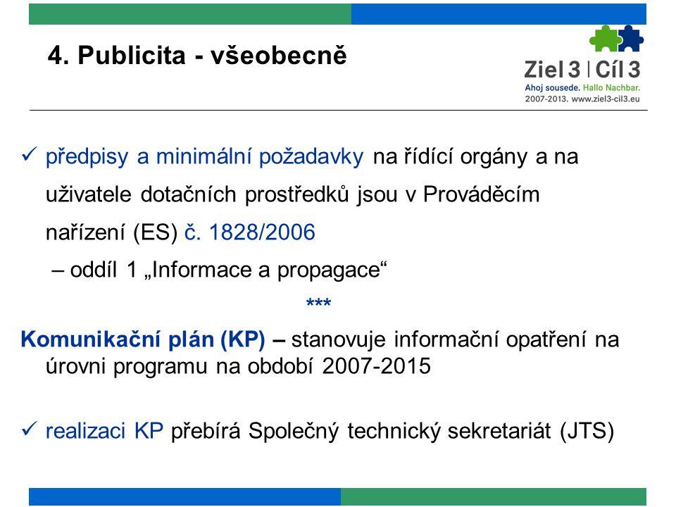 4. Publicita - všeobecně předpisy a minimální požadavky na řídící orgány a na uživatele dotačních prostředků jsou v Prováděcím nařízení (ES) č. 1828/2