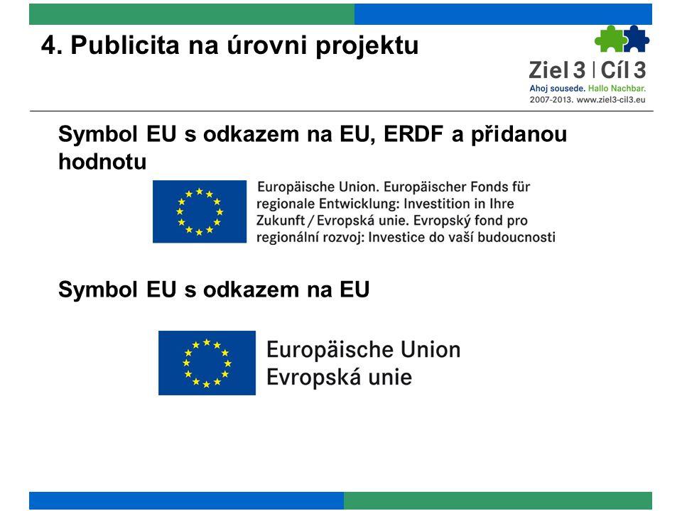 4. Publicita na úrovni projektu Symbol EU s odkazem na EU, ERDF a přidanou hodnotu Symbol EU s odkazem na EU