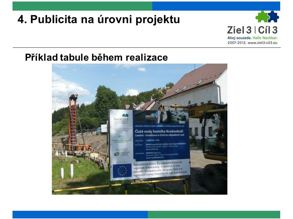 4. Publicita na úrovni projektu Příklad tabule během realizace
