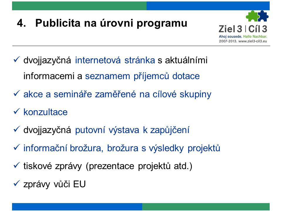 4. Publicita na úrovni programu dvojjazyčná internetová stránka s aktuálními informacemi a seznamem příjemců dotace akce a semináře zaměřené na cílové
