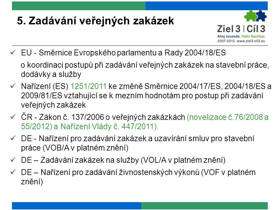 5. Zadávání veřejných zakázek EU - Směrnice Evropského parlamentu a Rady 2004/18/ES o koordinaci postupů při zadávání veřejných zakázek na stavební pr