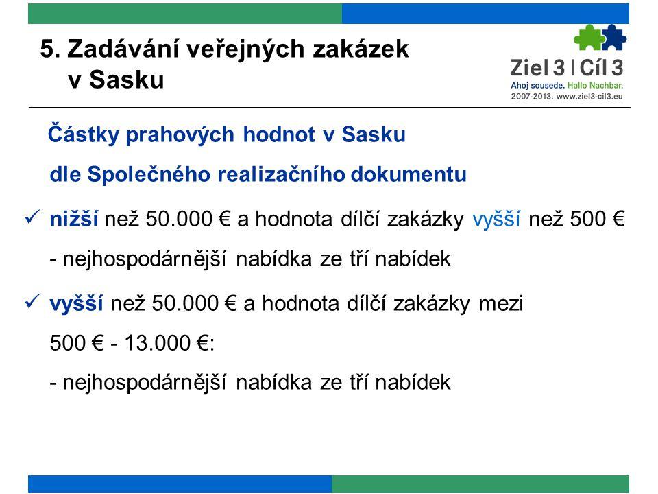 5. Zadávání veřejných zakázek v Sasku Částky prahových hodnot v Sasku dle Společného realizačního dokumentu nižší než 50.000 € a hodnota dílčí zakázky