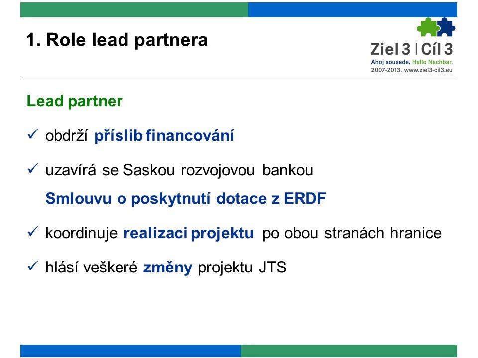 Lead partner obdrží příslib financování uzavírá se Saskou rozvojovou bankou Smlouvu o poskytnutí dotace z ERDF koordinuje realizaci projektu po obou stranách hranice hlásí veškeré změny projektu JTS 1.