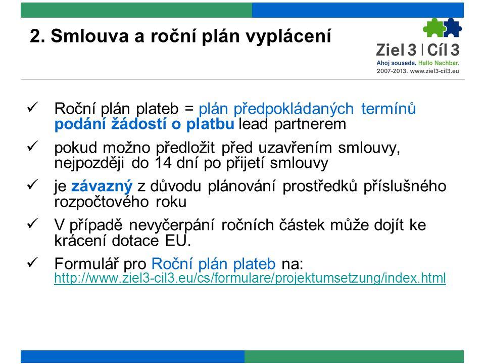 2. Smlouva a roční plán vyplácení Roční plán plateb = plán předpokládaných termínů podání žádostí o platbu lead partnerem pokud možno předložit před u