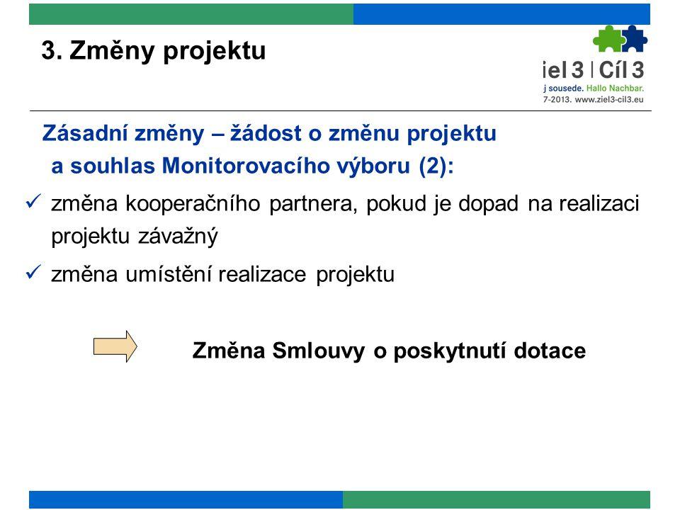 3. Změny projektu Zásadní změny – žádost o změnu projektu a souhlas Monitorovacího výboru (2): změna kooperačního partnera, pokud je dopad na realizac
