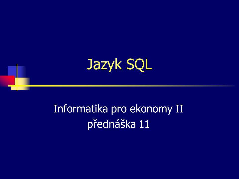 Popis jazyka SQL SQL — Structured Query Language (strukturovaný dotazovací jazyk, IBM počátkem sedmdesátých let) Neprocedurální jazyk — příkazy popisují, CO se má provést, a ne JAK Různá dělení příkazů do skupin.