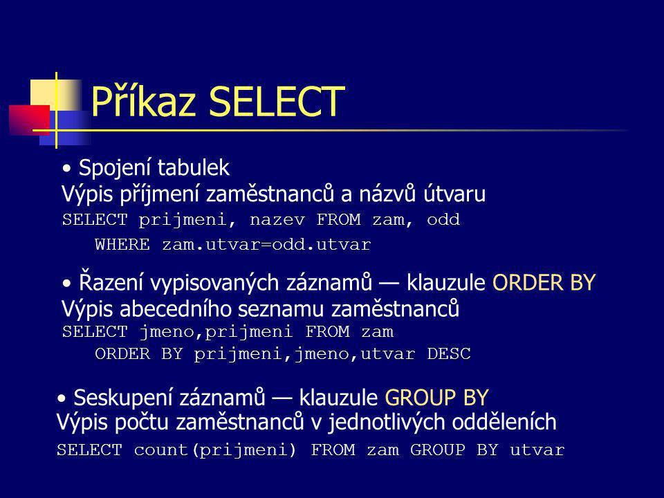Příkaz SELECT Řazení vypisovaných záznamů — klauzule ORDER BY Výpis abecedního seznamu zaměstnanců SELECT jmeno,prijmeni FROM zam ORDER BY prijmeni,jm