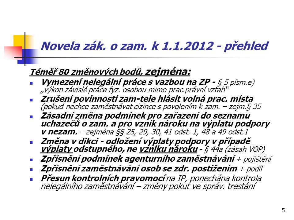 """5 Novela zák. o zam. k 1.1.2012 - přehled Téměř 80 změnových bodů, zejména: Vymezení nelegální práce s vazbou na ZP - § 5 písm.e) """"výkon závislé práce"""