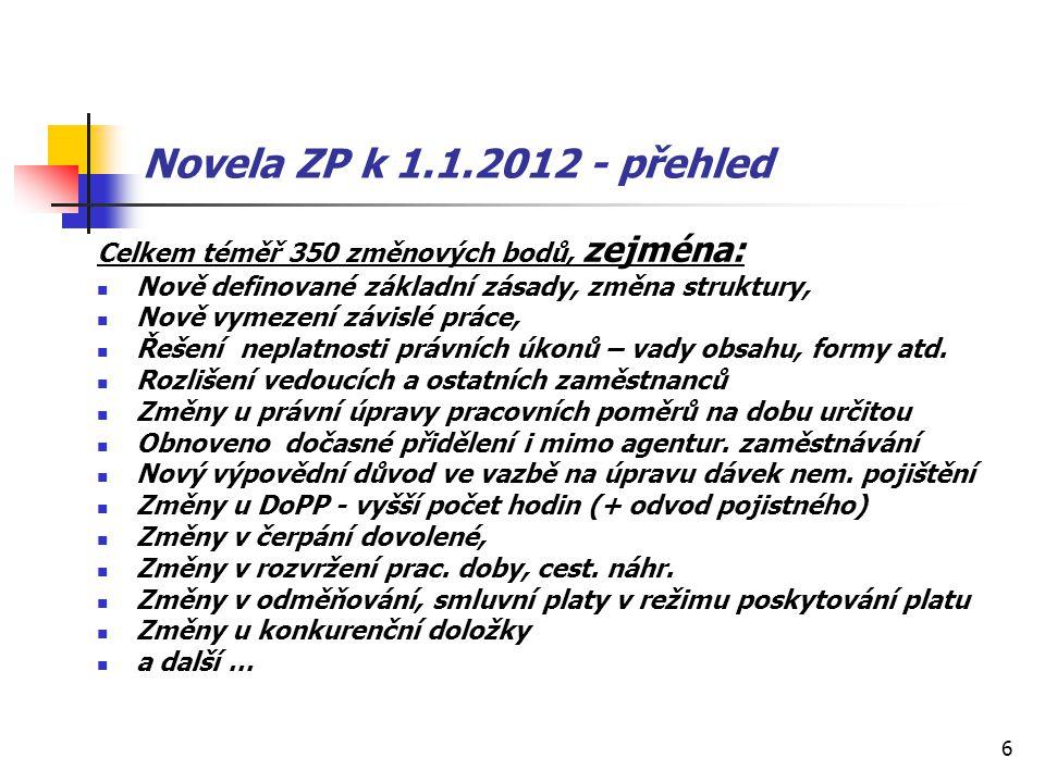 6 Novela ZP k 1.1.2012 - přehled Celkem téměř 350 změnových bodů, zejména: Nově definované základní zásady, změna struktury, Nově vymezení závislé prá