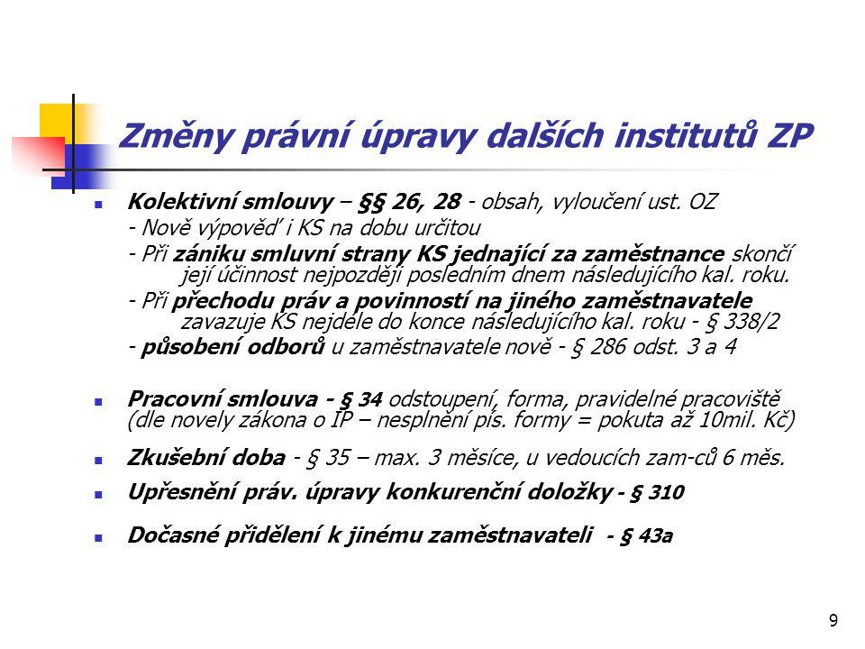 9 Změny právní úpravy dalších institutů ZP Kolektivní smlouvy – §§ 26, 28 - obsah, vyloučení ust. OZ - Nově výpověď i KS na dobu určitou - Při zániku