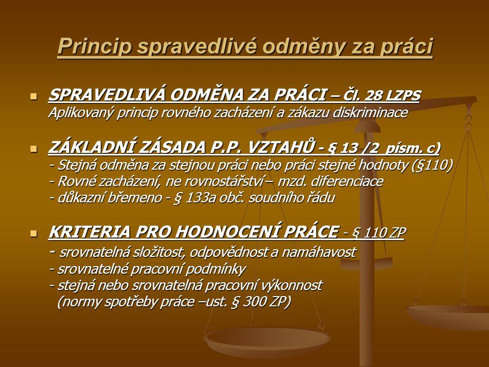 Princip spravedlivé odměny za práci SPRAVEDLIVÁ ODMĚNA ZA PRÁCI – Čl. 28 LZPS SPRAVEDLIVÁ ODMĚNA ZA PRÁCI – Čl. 28 LZPS Aplikovaný princip rovného zac